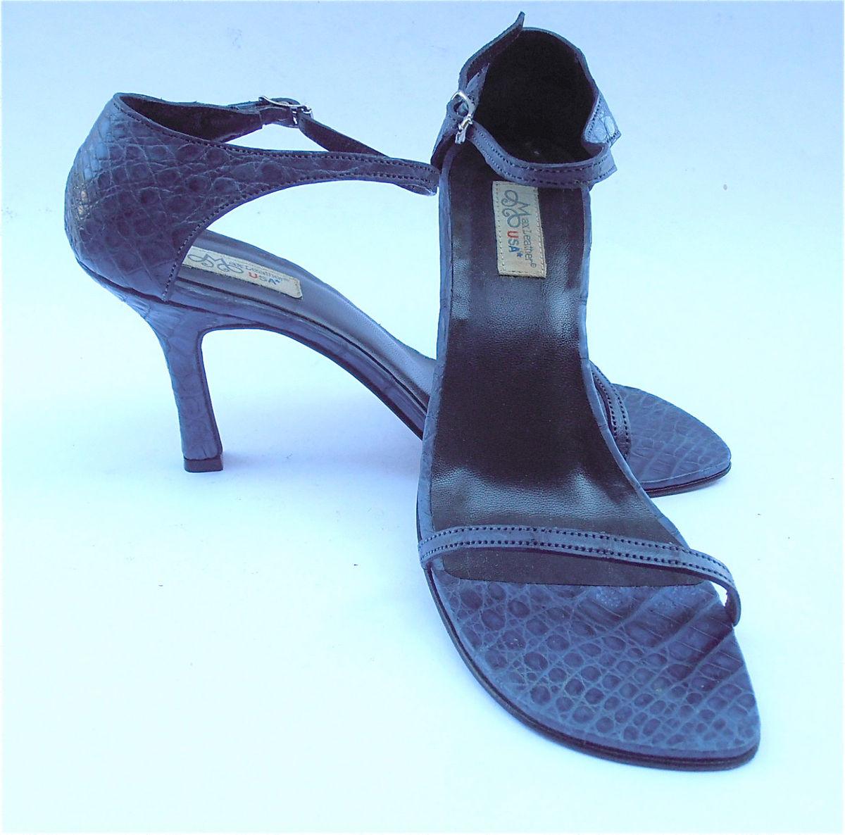 0292e16e5 Vintage Navy Blue Ladies Shoes Blue Womens Shoes Dark Blue High Heels  Ladies Blue Strap Shoes Genuine Croc Blue Leather Shoe Womens Size 7.5
