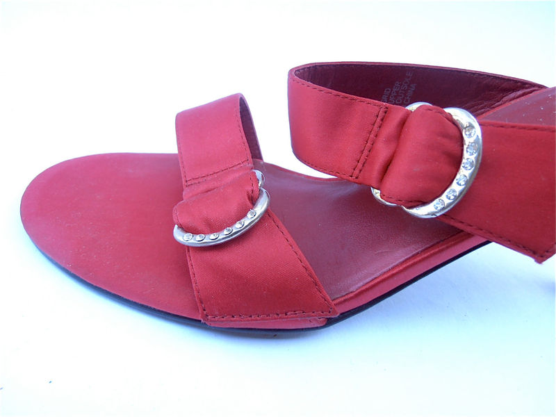 Vintage Red Satin Shoes Vintage Red High Heels Vintage Red Shoes Vintage Red Stilettos Red Bandolino Shoes Vintage Rhinestones Shoe Size 7.5 - product images  of