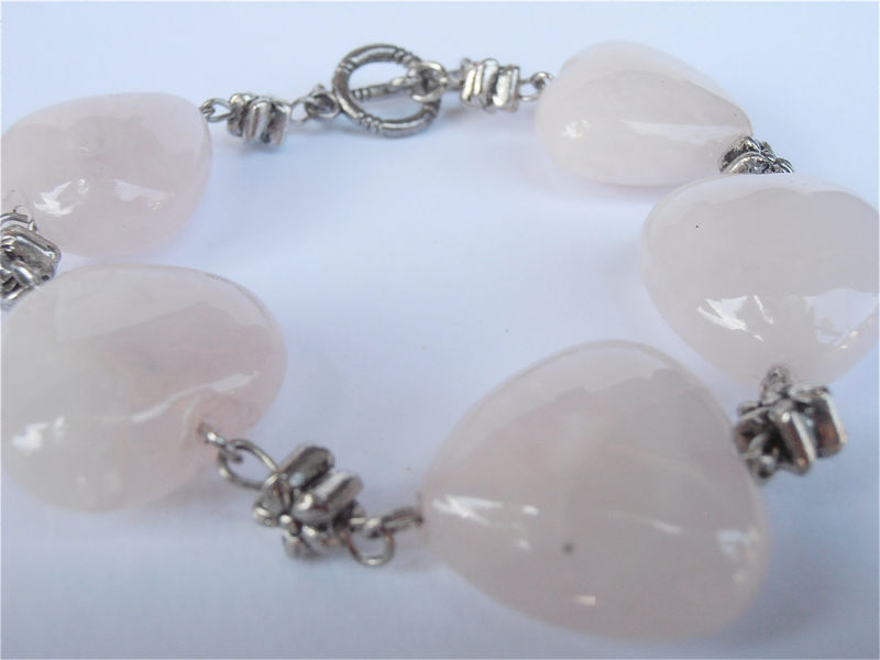 Pink Heart Bracelet Rose Quartz Pale Pale Pink Gemstone Stone Bead Bracelet Silver Tone Etched Flowers Shabby Cottage Chic Chunky Large - product images  of