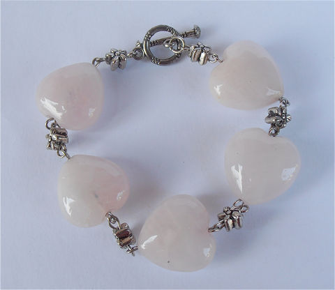 Pink,Heart,Bracelet,Rose,Quartz,Pale,Gemstone,Stone,Bead,Silver,Tone,Etched,Flowers,Shabby,Cottage,Chic,Chunky,Large,handmade pink quartz heart bead bracelet, chunky rose quartz healing gemstone, love heart pink bead silver tone bracelet, love heart stone bracelet, metaphysical natural rose quartz, rose quartz silver tone bracelet, etched flower silver beads bracelet