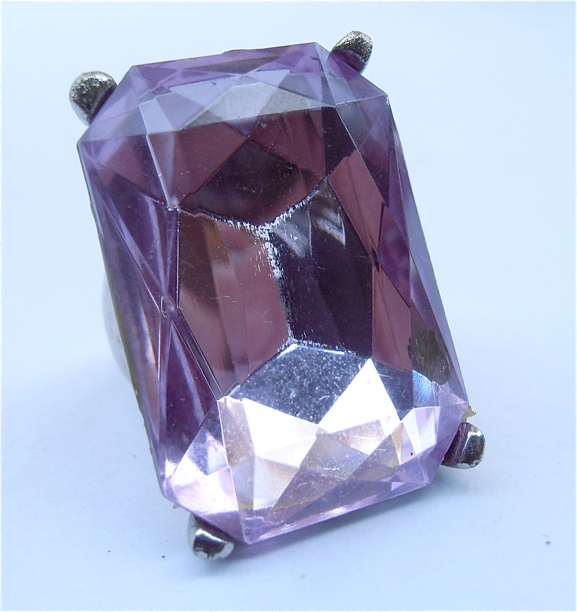 Vintage Faux Amethyst Acrylic Ring Statement Purple Emerald Cut Ladies Womens Lavender Costume Jewelry Silver Tone Violet Band Size 6.5 - product images  of