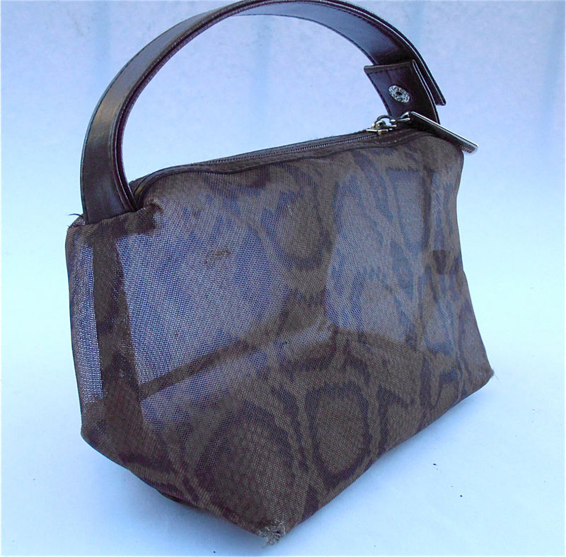 Vintage Animal Print Mesh Bag Adrienne Vittadini Designer Genuine Leather Pouch Leopard Cheetah Brown Transparent Travel Makeup Pouchette - product images  of