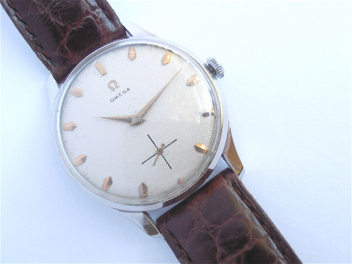 Vintage Omega Mens Dress Watch Genuine Omega Watch European Model Omega Watch Omega Chrome Plated Watch Vintage Omega Honeycomb Dial Face - product images  of