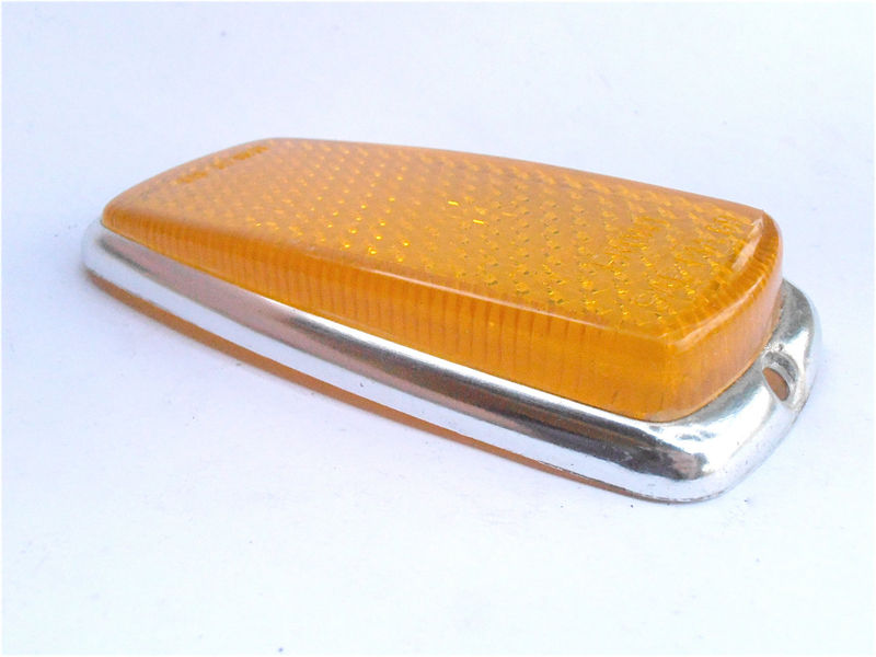 Vintage Amber Front Side Reflector European Car Marker 60s 70s Right Left Light Lens Lamp Mercedes Benz Bmw UL0 302 00 30 SAE P1A 69 - product images  of
