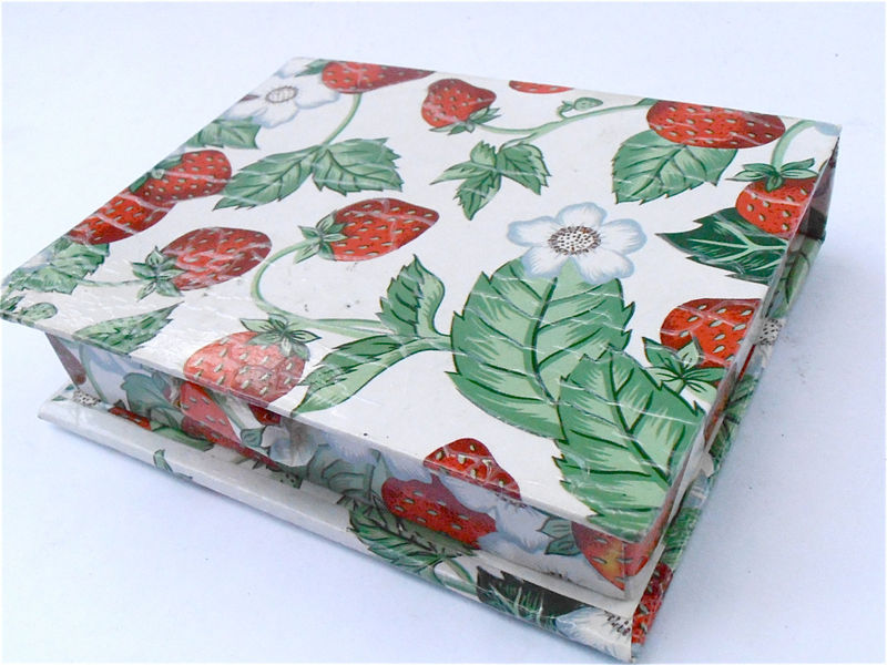 Vintage Strawberry Patch Stationery Box Red Fruit White Green Kawaii Paper Carton Miniature Storage Novelty Trinket Multi Purpose Gift Case - product images  of