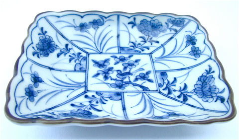 Vintage,Blue,White,Japanese,Ceramic,Rectangle,Indigo,Floral,Saucer,Mini,Tray,Asian,Oriental,Pottery,Tiny,Plate,Brown,Scallop,Glaze,Catchall,Miniature,Dish,Villacollezione,vintage blue white miniature tray, vintage japanese blue mini dish, vintage blue rectangle plate, vintage blue floral mini saucer, vintage blue white saucer, vintage hasami indigo japanese pottery, vintage indigo japanese plate, vintage blue flower tray