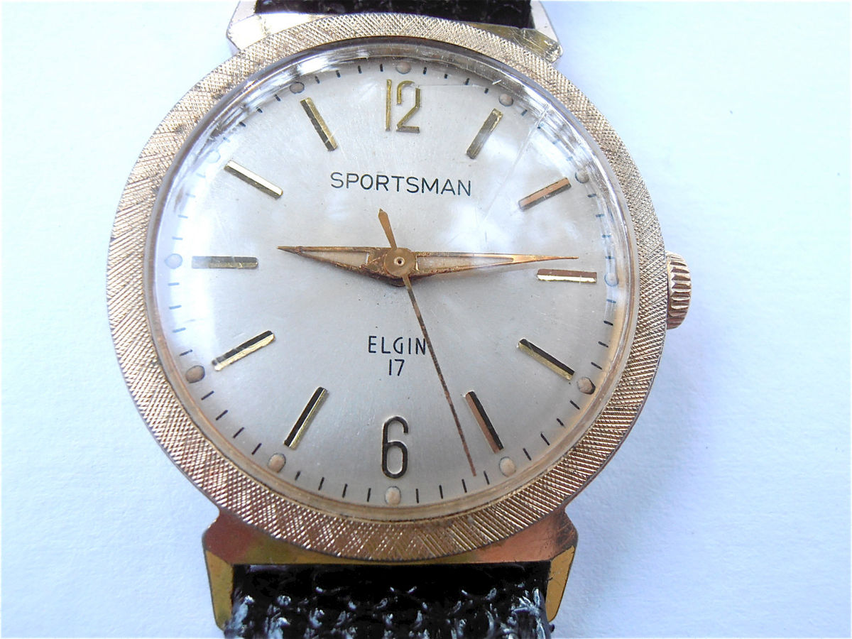 Vintage Elgin Mens Sportsman Watch Round Dial Mens Dress Watch Manual Wind Watch Gold Tone Textured Bezel Villacollezione Villa Collezione - product images  of