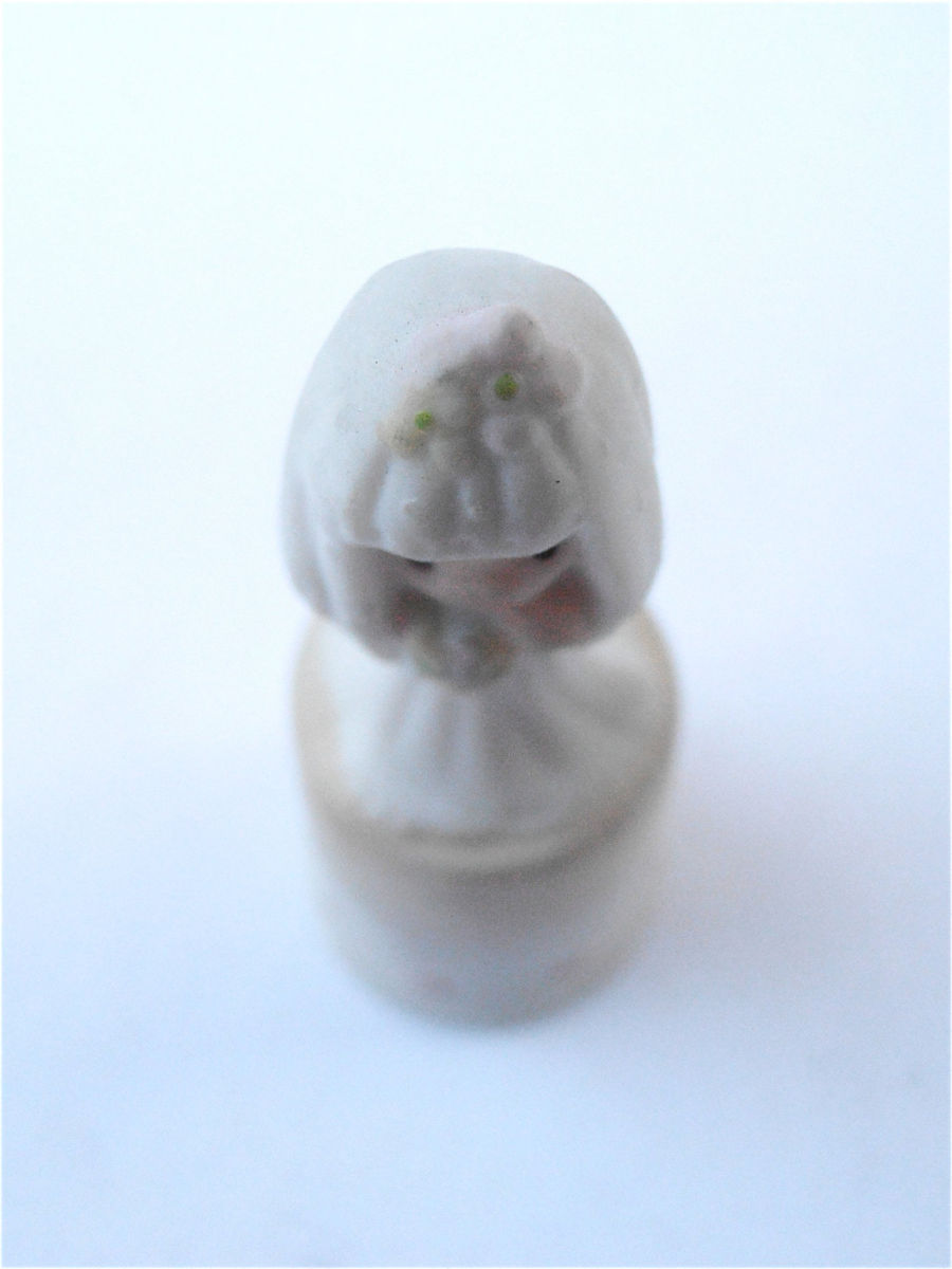 Vintage Bride Thimble Vintage Enesco Bride Figurine Sam Butcher Thimble Bride 100633 Precious Moments Bride Figurine Bride Cupcake Topper - product images  of