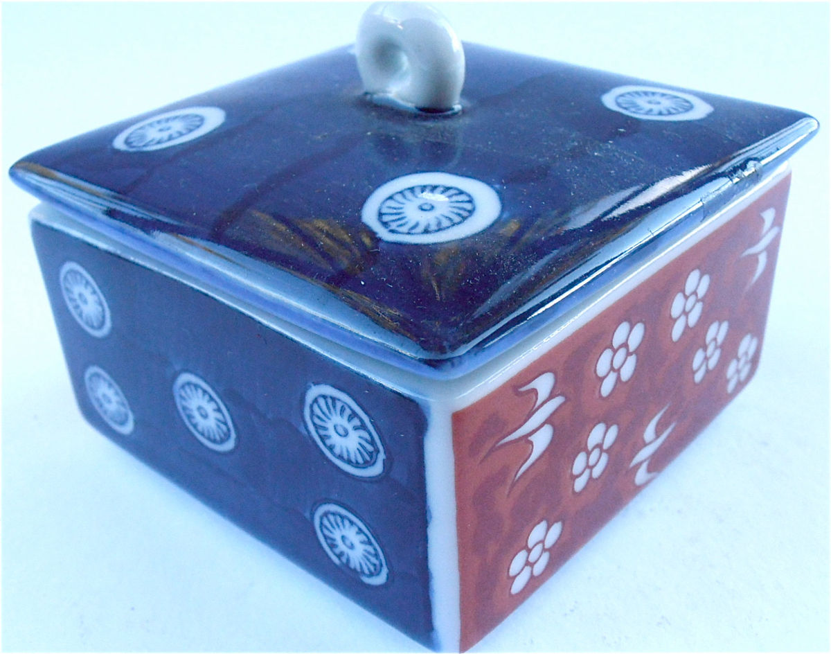 Vintage Blue Ceramic Box Vtg Red Ceramic Box Red White Blue Box Vintage Japanese Ceramic Square Box Ceramic Souvenir Box Ceramic Trinket Box - product images  of