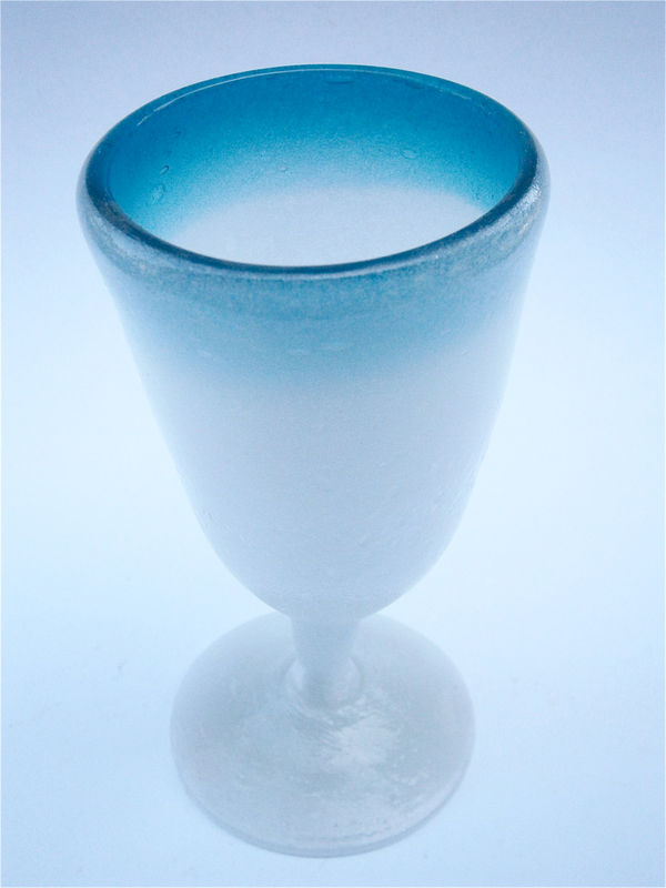 Vintage Blue Frosted Glass Goblet Wine Stemmed Pedestal Footed Cocktail Juice Drinking Cup Villacollezione Villa Collezione Made in Mexico - product images  of