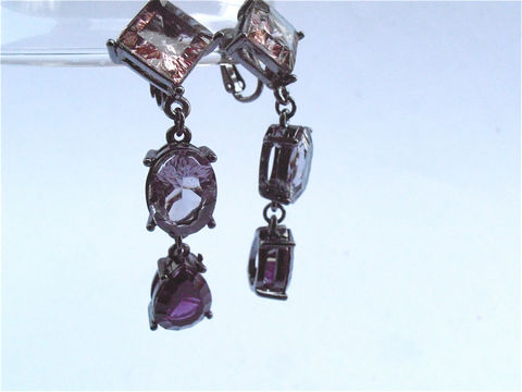 Vintage,Oval,Purple,Earrings,Art,Deco,Amethyst,Square,Teardrop,Clip,On,Violet,Plum,Orchid,Dangling,Gunmetal,Gray,Grey,Acrylic,Lucite,Jewelry,vintage oval purple earrings, art deco amethyst earrings, square amethyst earrings, teardrop amethyst dangling earrings, vintage plum earrings, vintage orchid earrings, purple dangling earrings, vintage violet earrings, vintage gunmetal earrings