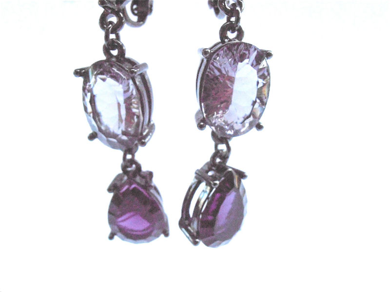 Vintage Oval Purple Earrings Art Deco Amethyst Square Teardrop Clip On Violet Plum Orchid Dangling Gunmetal Gray Grey Acrylic Lucite Jewelry - product images  of
