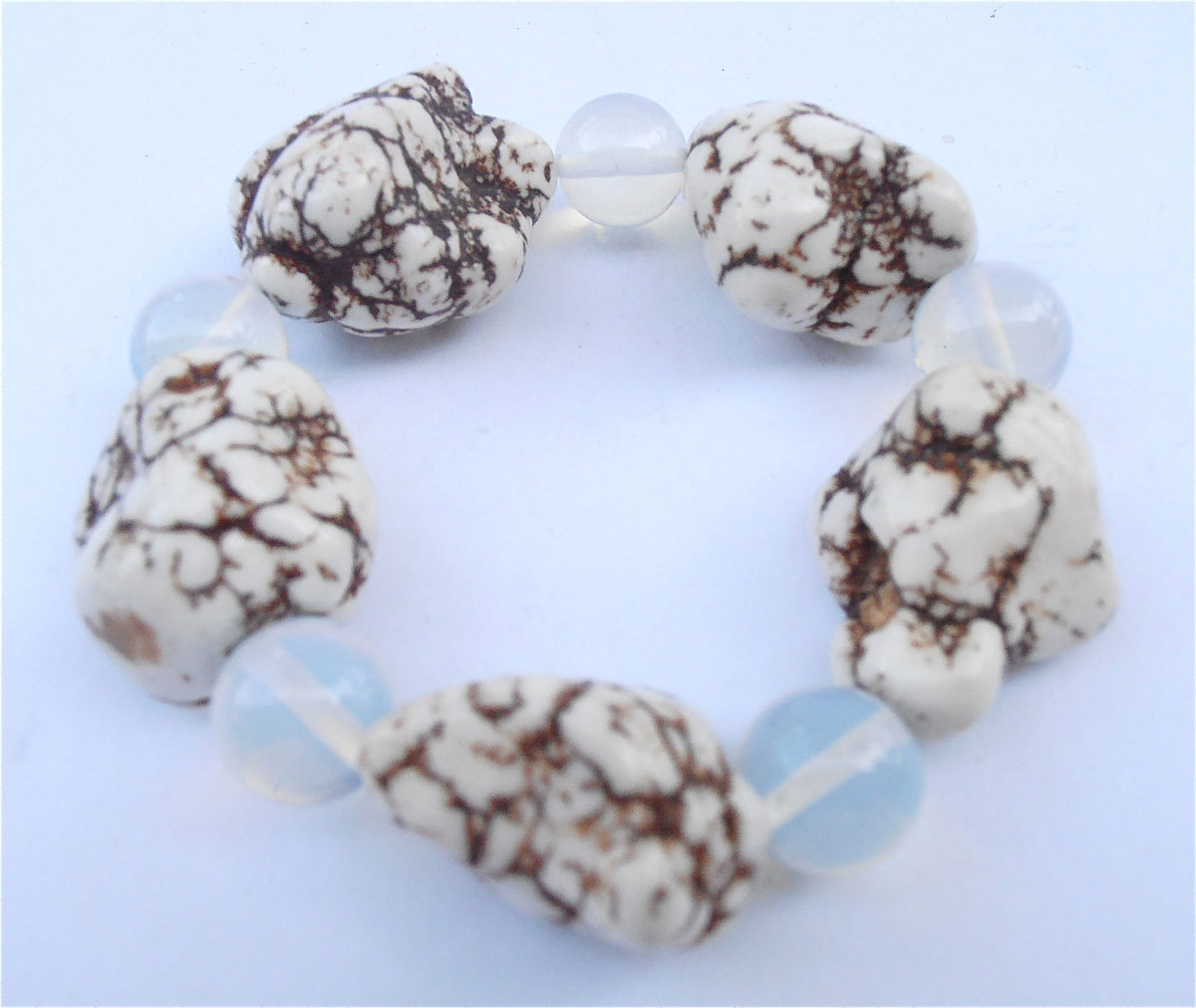 Handmade White Chunky Bracelet Round Opalite Bracelet White Magnesite Bracelet Chunky White Bracelet Chunky Bracelet Large Nugget Bracelet - product images  of