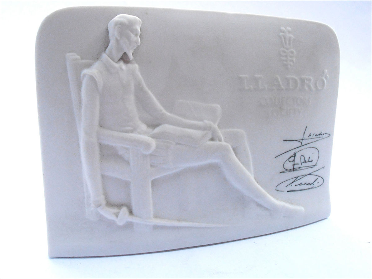 Vintage Lladro Collectors Society Signed Plaque Retired Don Quixote Bas Relief Porcelain Figurine Juan Jose Vincente White Pottery Sculpture - product images  of