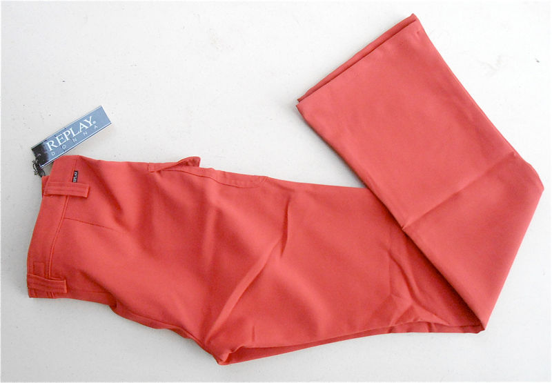 Vintage Replay Donna Designer Red Pants Beige Womens Slacks Size 7 Size 28 High Rise Straight Leg Ladies Trousers 28 Waist 41 Inseam - product images  of