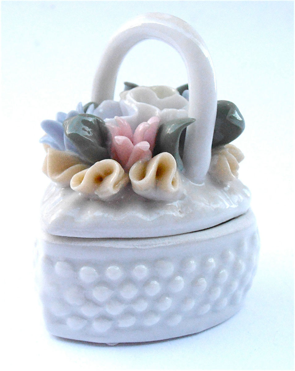 Vintage Pink Heart Box Hobnail Porcelain Trinket White Ceramic Pastel Flowers Floral Case Souvenir Jewel Jewelry Pottery Shabby Cottage Chic - product images  of