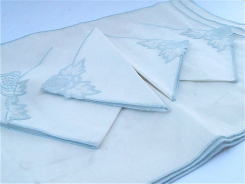 Vintage,Baby,Blue,White,Cotton,Napkin,Placemat,Set,Embroidered,Floral,Napkins,Shabby,Cottage,Chic,Flower,Embroidery,Place,Mats,Table,Setting,vintage baby blue white cotton napkins, vintage blue white placemats, vintage blue white place mats, vintage embroidered blue floral napkins, shabby cottage chic, flower embroidery napkins, embroidered napkins, embroider place mat, vintage blue home decor