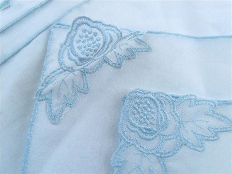 Vintage Baby Blue White Cotton Napkin Placemat Set Embroidered Floral Napkins Shabby Cottage Chic Flower Embroidery Place Mats Table Setting - product images  of