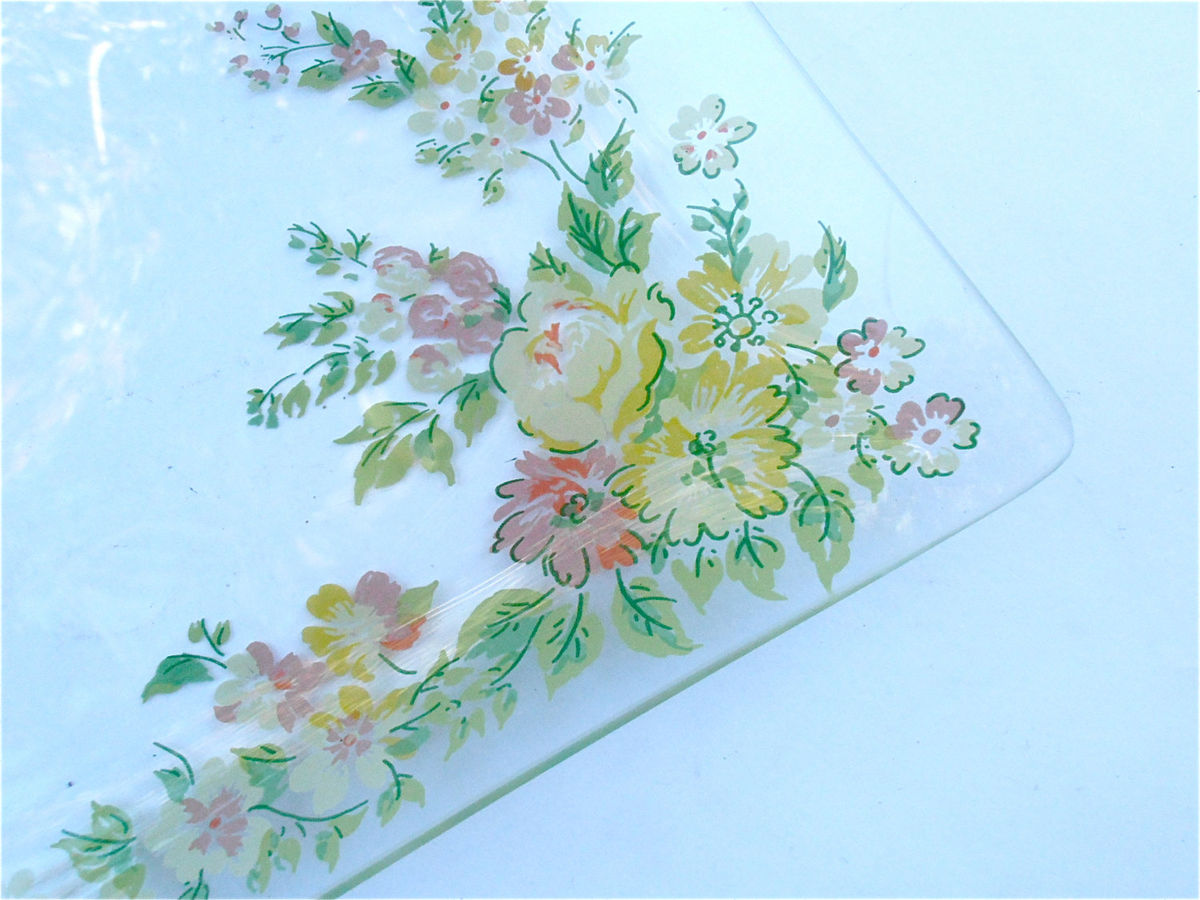 Vintage Floral Glass Square Serving Tray Mauve Pink Yellow Green Flowers Appetizer Relish Dish Nut Candy Platter Veggie Salsa Bloom Plate - product images  of