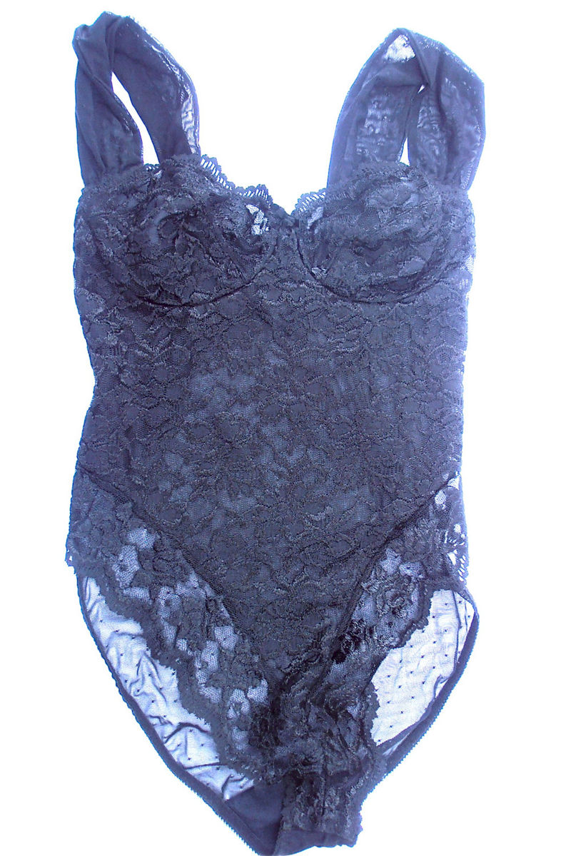 Vintage Black Lace Teddy Vintage Black Teddy Black Lace Bra Vintage Black Lingerie Black Underwire Bra Black Foundation Black Undergarment - product images  of