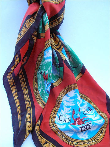 Vintage,Astrological,Scarf,Red,Zodiac,Silk,Sun,Capricorn,Aquarius,Cancer,Libra,Gemini,vintage astrological silk scarf, vintage golden sun silk scarf, vintage zodiac silk scarf, vintage black red silk scarf, capricorn scarf, aquarius scarf, cancer scarf,  libra scarf, gemini scarf, scorpio scarf, taurus scarf, pisces scarf, sagittarius scar