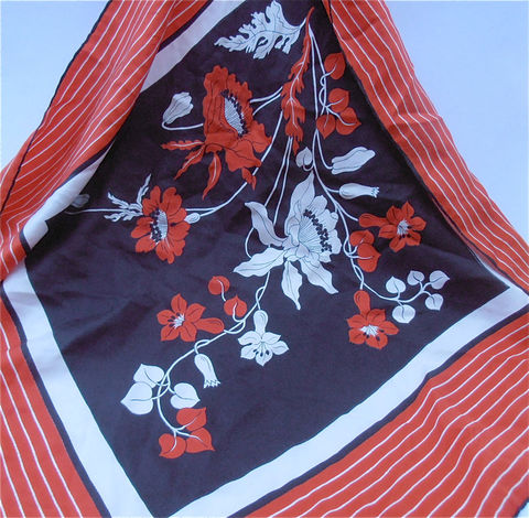 Vintage,Red,Black,Scarf,Floral,Flower,Silk,White,vintage red black white silk scarf, vintage red flower silk scarf, vintage floral red black silk scarf, vintage flower black floral scarf, vintage red silk floral scarf, vintage white black silk flower scarf, villacollezione, villa collezione
