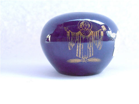 Vintage,Cobalt,Indigo,Dark,Blue,Vase,Bavaria,Echt,Round,Bulbous,Mini,Miniature,Ball,Porcelain,Gold,Paint,Trim,German,Small,Ceramic,Pottery,vintage bavaria round vase, vintage miniature ball indigo vase, vintage german echt cobalt mini vase, blue porcelain vase, german mini blue vase, vintage dark blue gold trim vase, german ceramic pottery, vintage saint holy god gold vase, dark blue pottery