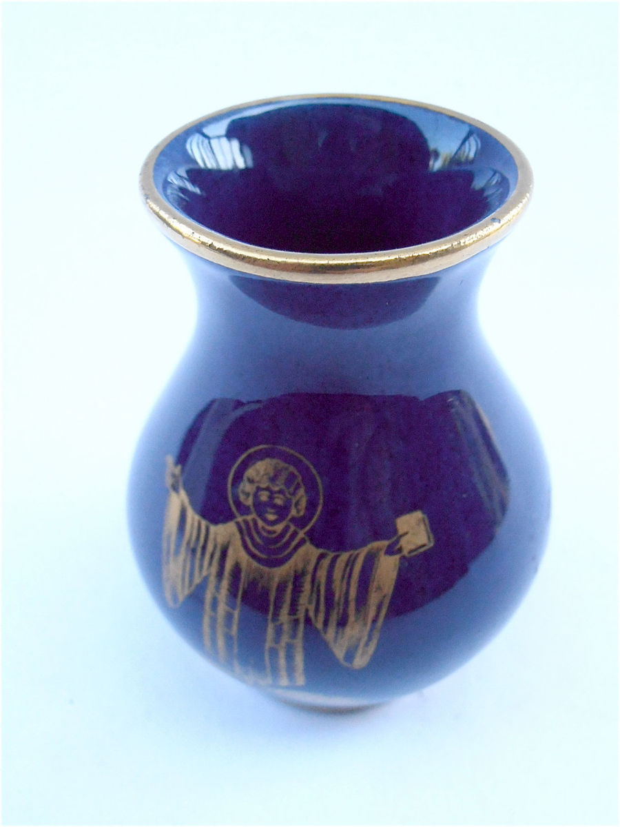 Vintage Blue Bavaria Miniature Vase Echt Cobalt Vintage Mini Blue Vase Gold Trim Collectible German Vase Small Cobalt Ceramic Pottery Vase - product images  of
