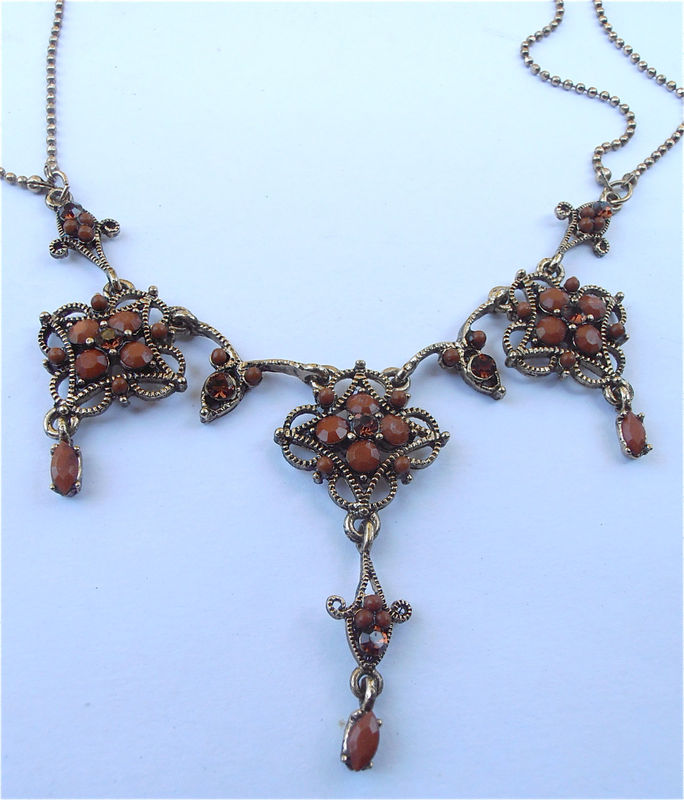Vintage Art Nouveau Gold Necklace Brown Necklace Vintage Brown Crystal Necklace Vintage Scallop Dangling Pendants Vintage Ornate Necklace - product images  of