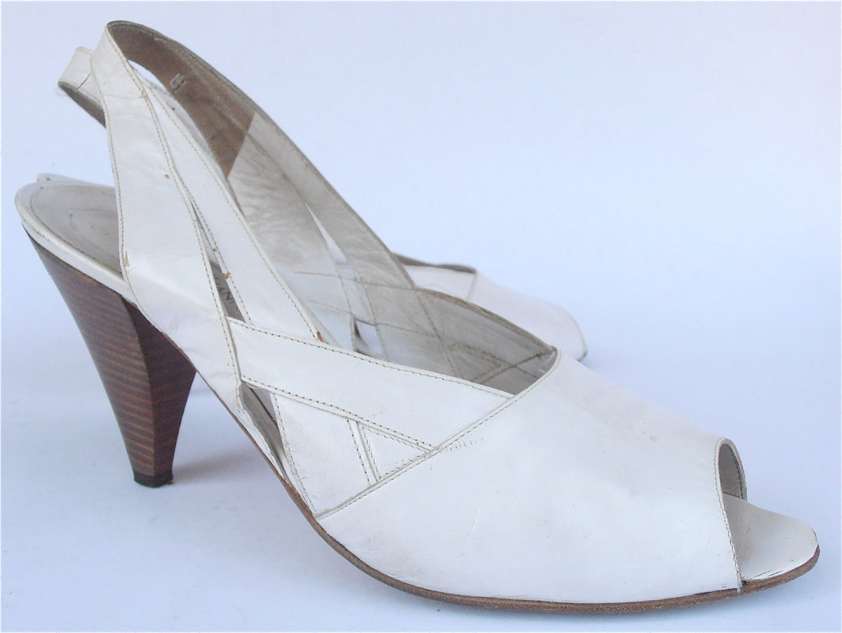 Vintage White Shoes White Italian Shoes Vintage White Sling Back Vtg White Peep Toe Shoes White High Heels White Strap Shoes Ladies Size 8 - product images  of