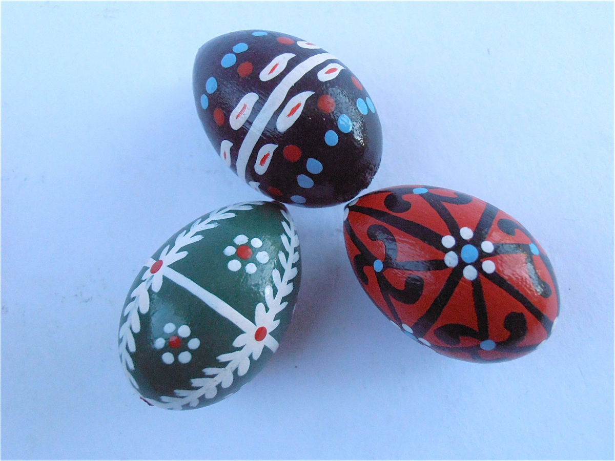 Vintage Miniature Easter Eggs Straw Basket Wooden Red Black Green Painted Figurines Mini Wood New Beginnings Christening Baptismal Baptism Baby - product images  of