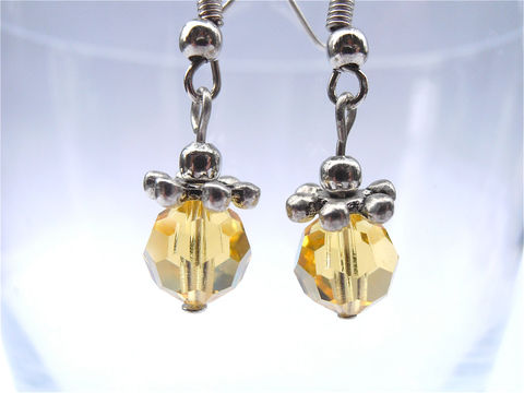 Handmade,Citrine,Crystal,Earrings,Gold,Color,Dangling,Swarovski,Element,Silver,jewelry, earrings, dangle, handmade dangling citrine crystal earrings, gold crystal earrings, faux citrine earrings, faceted citrine dangling earrings, citrine swarovski elements earrings, yellow faux topaz earring, citrine color earring, villa collezione