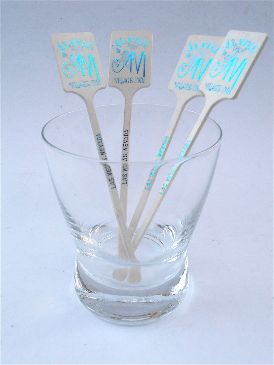 Vintage Alpine Village Inn Swizzlers Las Vegas Memorablia Blue White Cocktail Plastic Stirrers Rare Souvenir Collectible Collection Items - product images  of