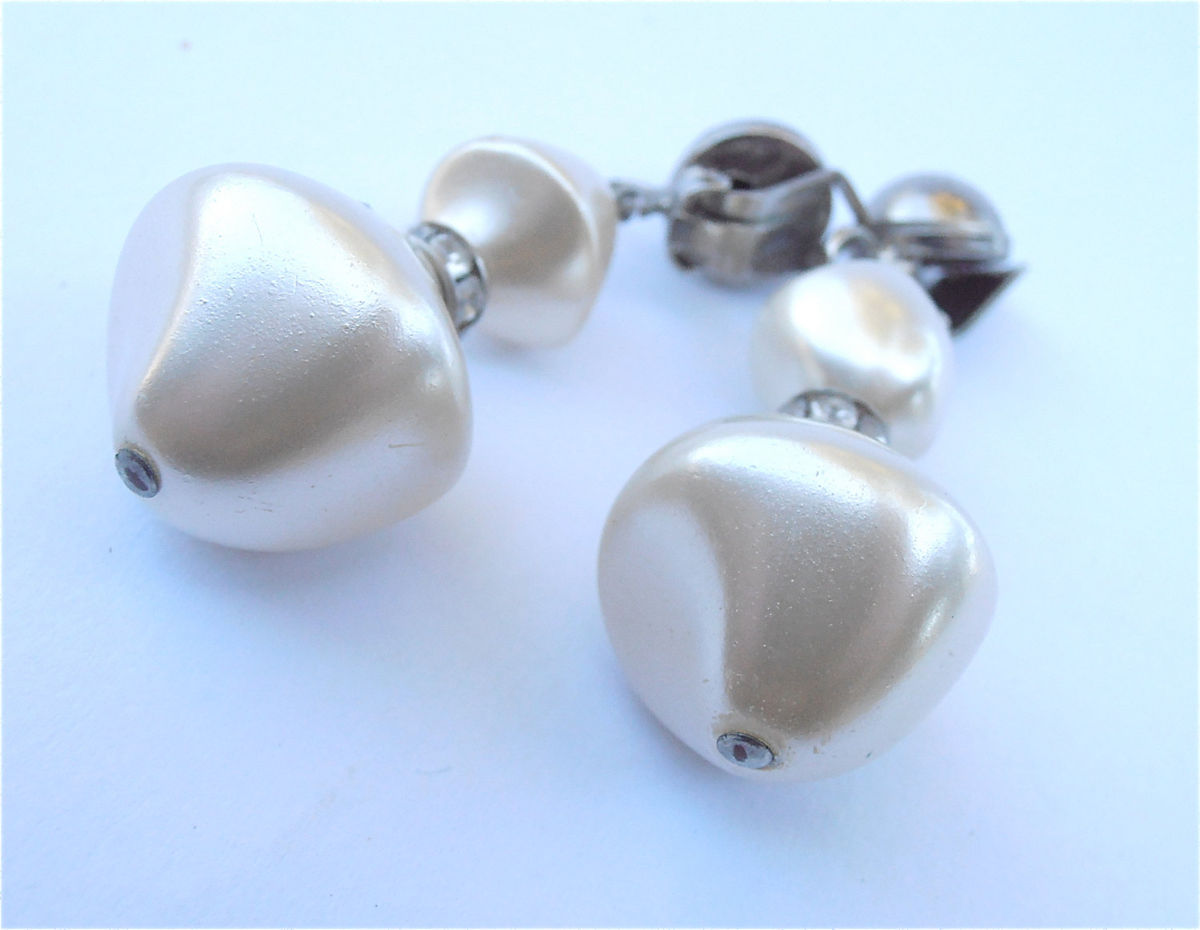 Vintage Satin White Pearl Dangling Earrings Bridal White Silver Tone Wedding Earrings Bride Rhinestone Chunky Faux Pearl Baroque Earrings  - product images  of