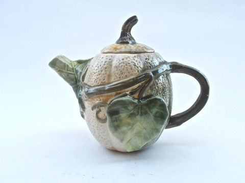 Vintage,Pumpkin,Teapot,Squash,Pottery,Green,Leaf,Brown,Leaves,Ceramic,Pot,Vine,Bas,Relief,Serving,Carved,Etched,Engraved,Sculpture,Figurine,vintage pumpkin ceramic teapot, vintage squash pottery, green leaf brown pot, green vine teapot, bas relief figurine, vintage serving carved green teapot, vintage etched green pot, sculpted leafy teapot, shabby cottage chic forest engraved figurine