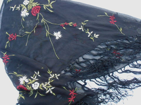 Vintage,Red,Floral,Black,Fringe,Shawl,See,Through,Flower,Green,Triangle,Olive,Metallic,Champagne,Embroidery,Villa,Collezione,vintage black mesh see through shawl, vintage red flower floral embroidered wrap, vintage green leaf leaves embroidered shawl, beige red green black shawl, black embroidered mesh wrap, swimsuit coverup, embroidered red flower shawl wrap, villacollezione
