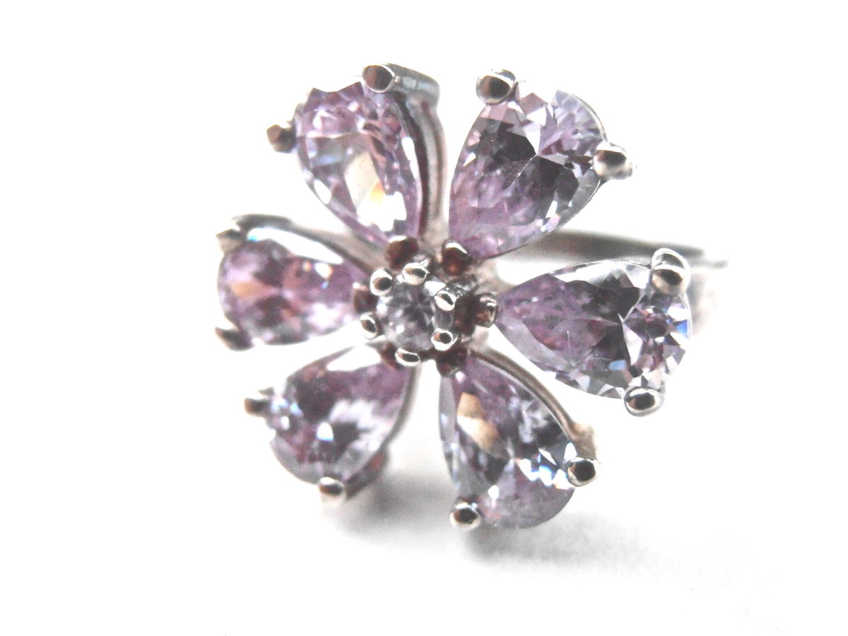 Vintage Light Purple CZ Ring Lavender Flower Cubic Zirconia Petal Sterling Silver Floral Ladies Ring Size US 6.5 Lilac Villacollezione - product images  of
