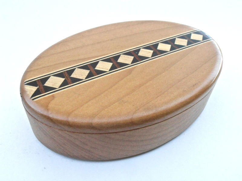 Vintage Oval Cherry Wooden Box Genuine Maple Inlaid Wood Inlay Secret Container Storage Spin Perimeter Inlay Puzzle Box Heartwood Creations - product images  of