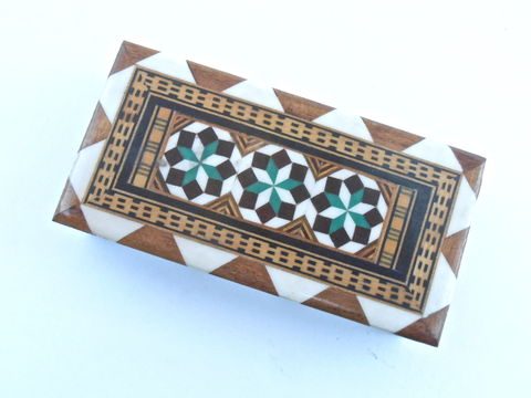 Vintage,Spanish,Rectangular,Wooden,Box,Inlay,Marquetry,Inlaid,Wood,Taracea,Green,Brown,Case,Granada,Moor,Mosaic,Quilt,Pattern,Tiered,Storage,vintage spanish wooden box, vintage hexagon wooden glaze box, vintage inlaid red brown wood box, vintage spanish marquetry box, vintage mosaic quilt pattern box, vintage black lacquer box, black lacquer storage, vintage moorish mosaic box