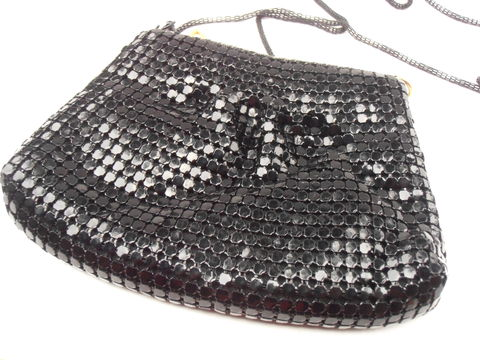 Vintage,Black,Metal,Mesh,Purse,Disco,Shiny,Evening,Mini,Shoulder,Bag,Retro,Small,Compact,Clutch,Party,Formal,Pouch,Accessory,Pouchette,vintage black metal mesh purse, retro disco shiny mini shoulder bag, black mesh bag, black metal clutch purse, black mesh metal bag, party black metal bag, vintage black mini shoulder bag, vintage black compact bag, black pouchette pouch, villacollezione
