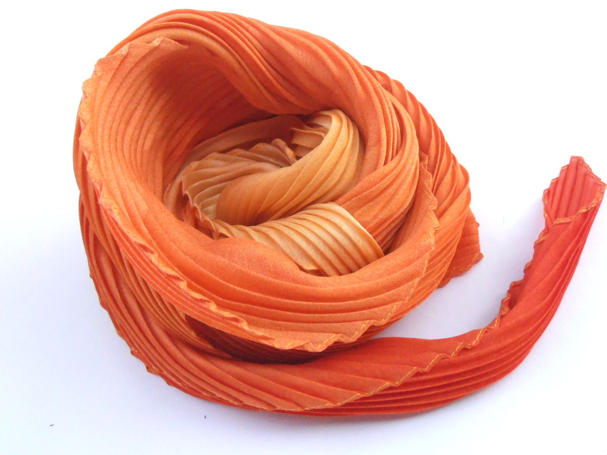Vintage Orange Pleated Scarf Gradient Tangerine Coral Plisse Carrot Head Wrap Bandanna Flame Persimmon Tangelo Colors Italian Neckerchief - product images  of