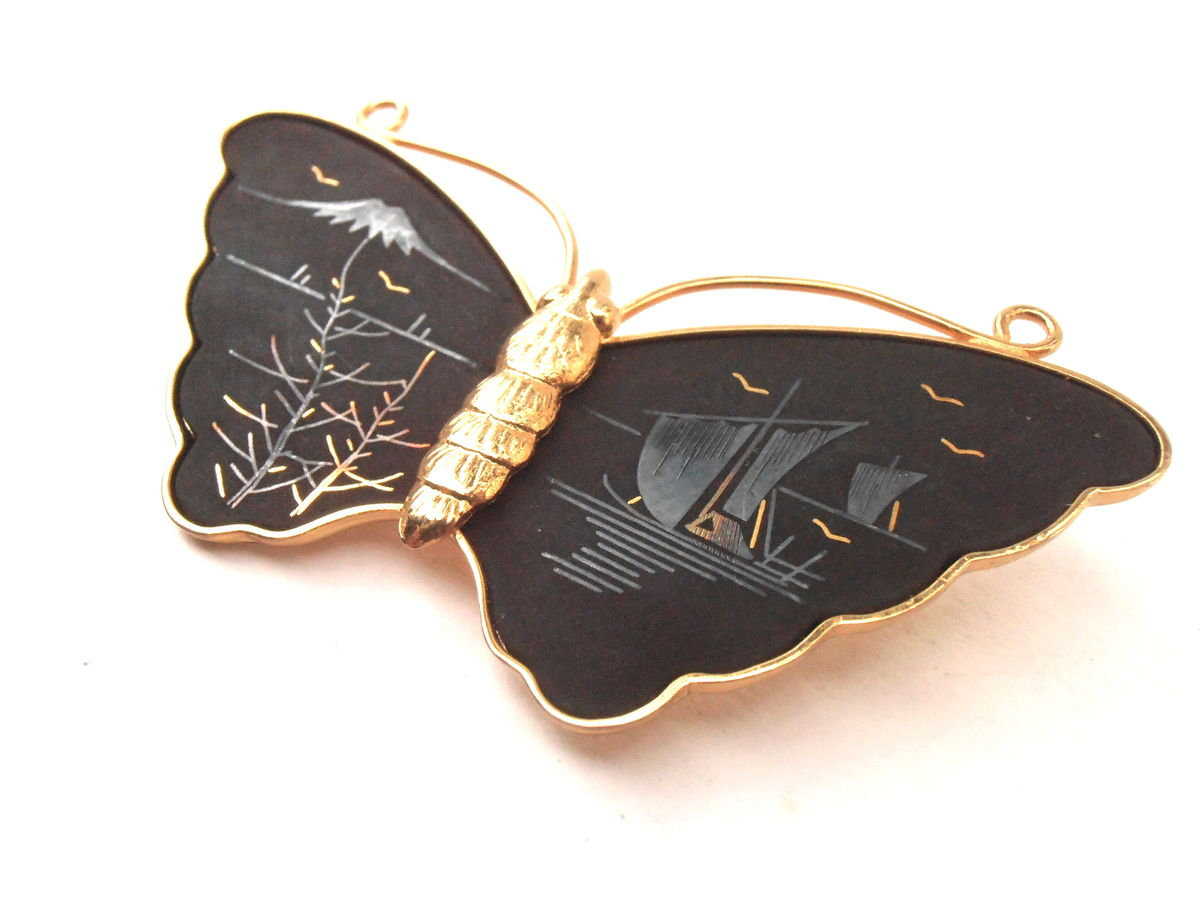Vintage Butterfly Amita Damascene Brooch Matte Black Pin Gold Tone Japanese Asian Landscape Scene Jewelry Mt Fuji Boat Bird Villacollezione - product images  of