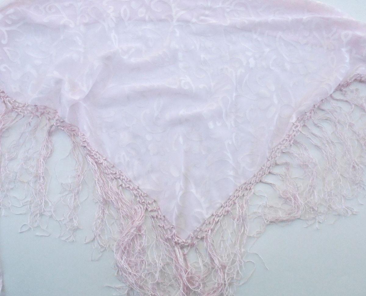 Vintage Baby Pink Heart Scroll Fringe Shawl Light Pink Triangle Wrap Bikini Coverup Pareo Sarong Overlap Skirt Cottage Chic Villacollezione - product images  of
