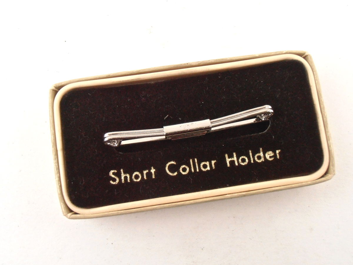 Vintage Swank Art Deco Silver Tone Collar Clip Bar Short Holder Groom Best Man Wedding Shirt Formal Wear Tuxedo Box Retro Midcentury Clasp - product images  of