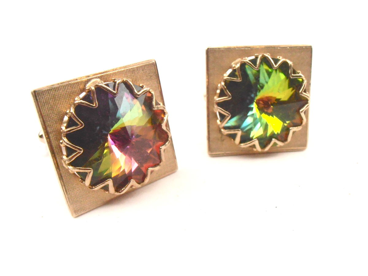 Vintage Rainbow Cufflinks Aurora Borealis Yellow Gold Tone Square Cuff Links Rose Cut Crystal Glass Groom Groomsman Unisex Wedding Formal - product images  of