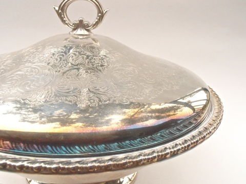 Vintage,Silver,Bowl,Dish,Simeon,George,Rogers,Casserole,Anniversary,Buffet,Cover,Serving,Pyrex,Round,Pedestal,Bride,Bridal,Shower,Wedding,vintage silver bowl dish, vintage pyrex glass bowl, vintage casserole dish, vintage simeon george rogers silver dish, vintage cover casserole silver dish, vintage ornate silver round dish, vintage silver pedestal serving tray, vintage buffet covered dish