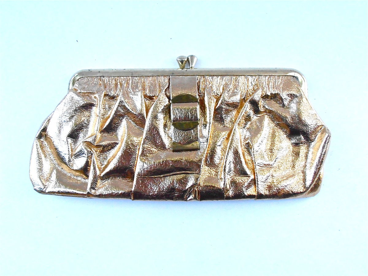 Vintage Gold Faux Leather Clutch Purse Metallic Wallet Handbag Formal Evening Bag Mid Century ID Card Key Holder Makeup Cosmetic Sundries   - product images  of