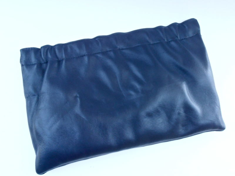 Vintage Dark Navy Blue Genuine Soft Leather Clutch Purse Handbag Rectangle Rectangular Shape Bag Retro Mid Century Ruffles Villacollezione - product images  of