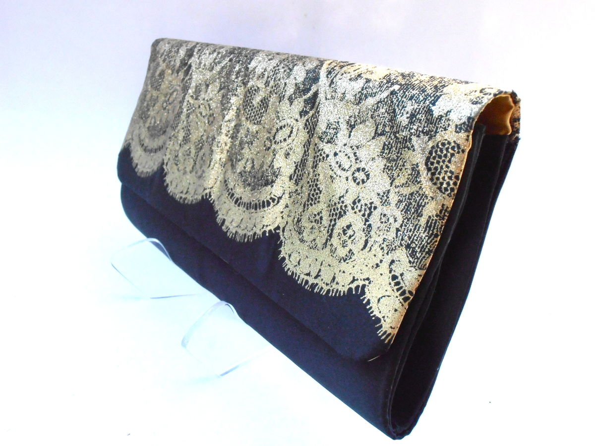 Vintage Gold Black Satin Evening Clutch Purse Formal Lace Metallic Padded Rectangular Handbag Rectangle Bag Compact Fancy Villacollezione - product images  of