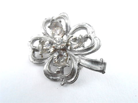 Vintage,Four,Leaf,Clover,Silver,Tone,Brooch,Clear,Rhinestone,Transparent,Matte,Pin,Lucky,Charm,Hat,Scarf,Lapel,Dress,Jewelry,Villacollezione,vintage four leaf brooch, four leaf clover brooch, silver leaf brooch, clear rhinestone pin, silver tone matte pin, lucky charm lapel pin, silver lucky charm brooch, four leaf clover pin, silver charm brooch, matte silver charm pin, lucky charm dress pin